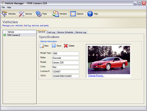 Vehicle Manager Professional Edition full screenshot