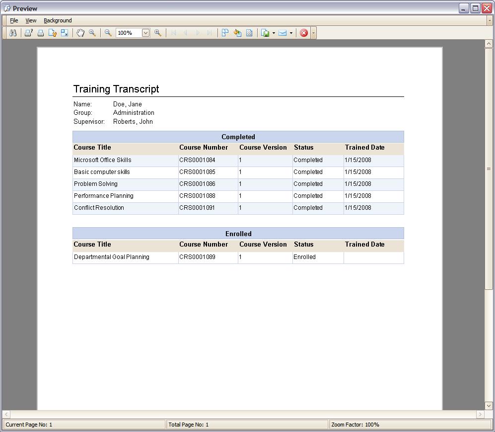 Screenshots Training Records Software